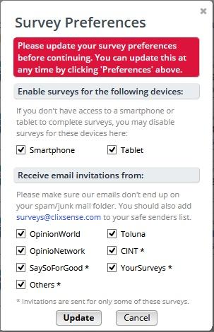 survey preferences ysense