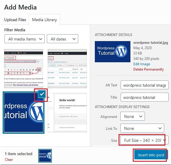 add media wordpress image