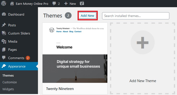 add new theme wordpress image