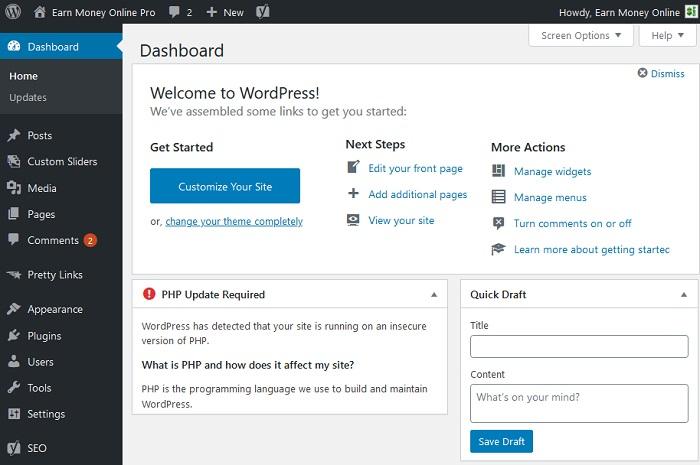 dashboard wordpress image