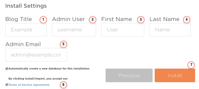 install settings Wordpres