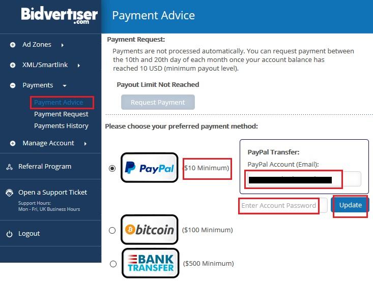 bidvertiser payment advice