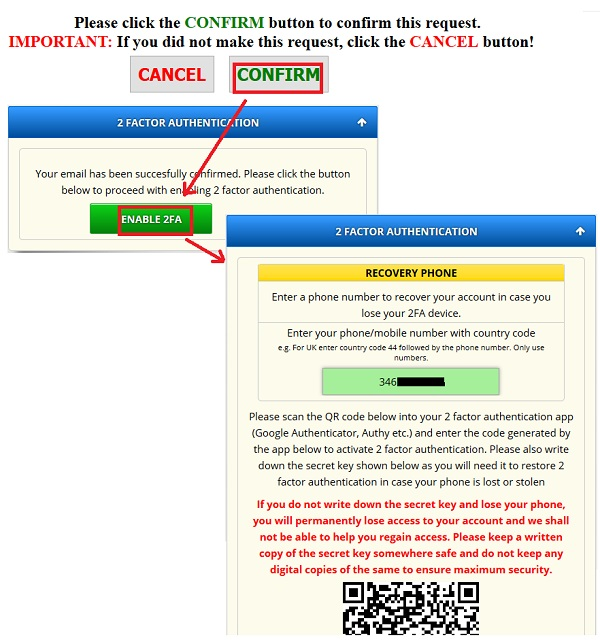 enable 2FA freebitcoin